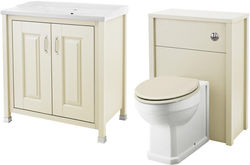 Old London Furniture 800mm Vanity & 600mm WC Unit Pack (Ivory).