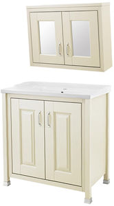 Old London Furniture 800mm Vanity & 800mm Mirror Cabinet Pack (Ivory).