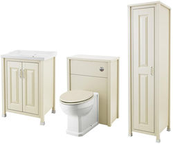 Old London Furniture 600mm Vanity, 600mm WC & Tall Unit Pack (Ivory).