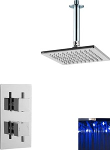 Premier Showers Twin Thermostatic Shower Valve With LED Square Head.