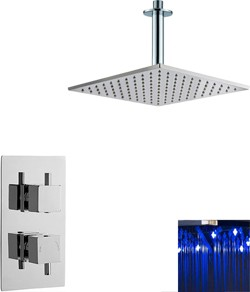 Premier Showers Twin Thermostatic Shower Valve & Large LED Square Head.