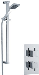 Premier Showers Twin Thermostatic Shower Valve With Slide Rail Kit (Chrome).