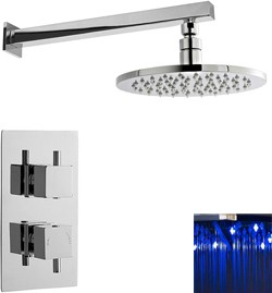 Premier Showers Twin Thermostatic Shower Valve With LED Round Head.