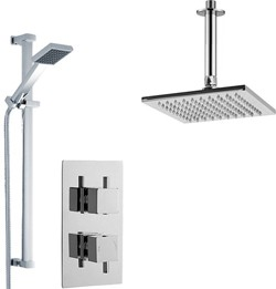 Premier Showers Twin Thermostatic Shower Valve With Head & Slide Rail Kit.