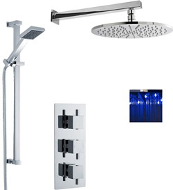 Premier Showers Triple Thermostatic Shower Valve, LED Head & Slide Rail Kit.