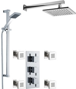 Premier Showers Triple Shower Valve With Head & Slide Rail Kit & Body Jets.