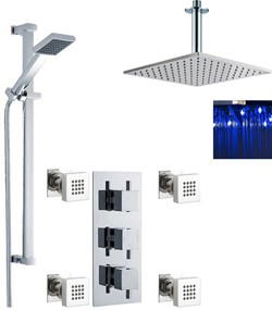 Premier Showers Triple Shower Valve, LED Head & Slide Rail Kit & Body Jets.