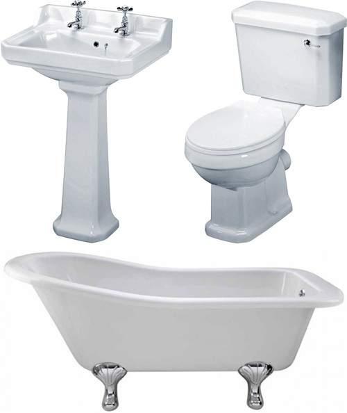 Premier Suites Kensington 1500mm Slipper Bath With Toilet & Basin.
