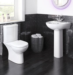 Premier Lawton Compact Suite With Toilet, 550mm Basin & Full Pedestal (1TH).