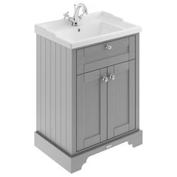 Old London Furniture Vanity Unit With Basins 600mm (Storm Grey, 1TH).