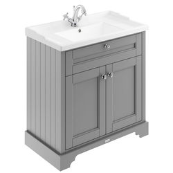 Old London Furniture Vanity Unit With Basins 800mm (Grey, 1TH).