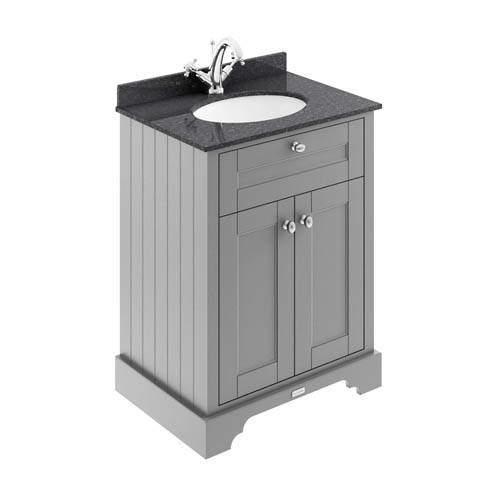 Old London Furniture Vanity Unit, Basin & Black Marble 600mm (Grey, 1TH).