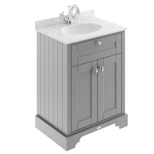 Old London Furniture Vanity Unit, Basin & Grey Marble 600mm (Grey, 1TH).