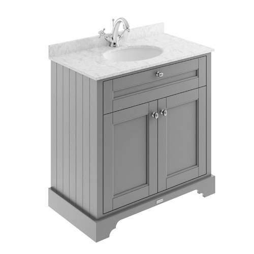 Old London Furniture Vanity Unit, Basin & Grey Marble 800mm (Grey, 1TH).