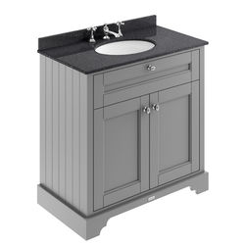 Old London Furniture Vanity Unit, Basin & Black Marble 800mm (Grey, 3TH).