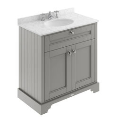 Old London Furniture Vanity Unit, Basin & Grey Marble 800mm (Grey, 3TH).