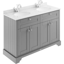 Old London Furniture Vanity Unit With 2 Basins & White Marble (Grey, 1TH).