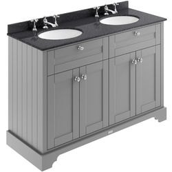 Old London Furniture Vanity Unit With 2 Basins & Black Marble (Grey, 3TH).