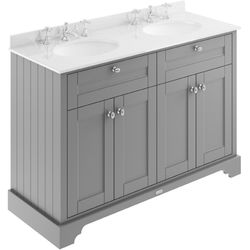 Old London Furniture Vanity Unit With 2 Basins & White Marble (Grey, 3TH).