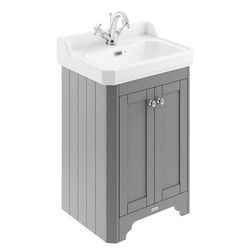 Old London Furniture Vanity Unit With Basins 595mm (Grey, 1TH).