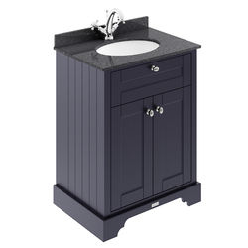 Old London Furniture Vanity Unit, Basin & Black Marble 600mm (Blue, 1TH).
