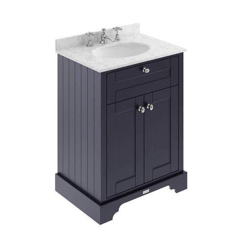 Old London Furniture Vanity Unit, Basin & Grey Marble 600mm (Blue, 3TH).