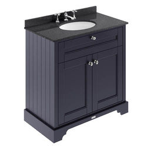 Old London Furniture Vanity Unit, Basin & Black Marble 800mm (Blue, 3TH).