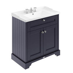 Old London Furniture Vanity Unit With Basins 800mm (Blue, 3TH).