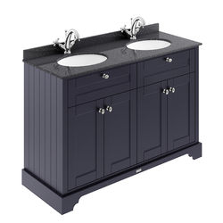 Old London Furniture Vanity Unit With 2 Basins & Black Marble (Blue, 1TH).