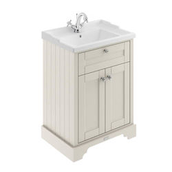 Old London Furniture Vanity Unit With Basins 600mm (Timeless Sand, 1TH).