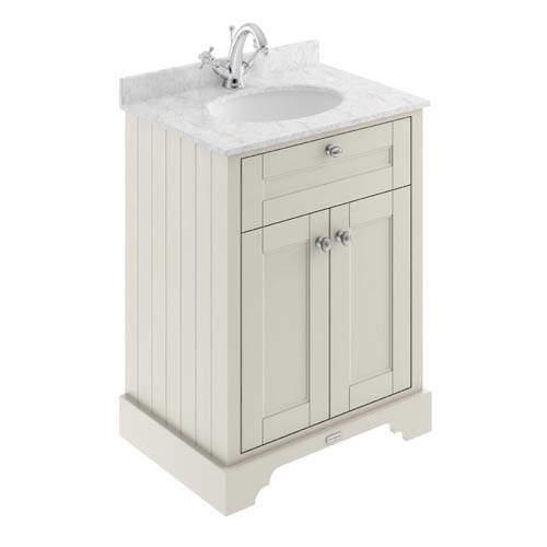 Old London Furniture Vanity Unit, Basin & Grey Marble 600mm (Sand, 1TH).
