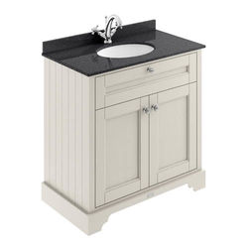 Old London Furniture Vanity Unit, Basin & Black Marble 800mm (Sand, 1TH).