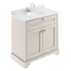 Old London Furniture Vanity Unit, Basin & White Marble 800mm (Sand, 1TH).