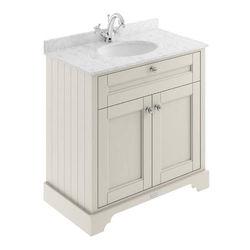 Old London Furniture Vanity Unit, Basin & Grey Marble 800mm (Sand, 1TH).