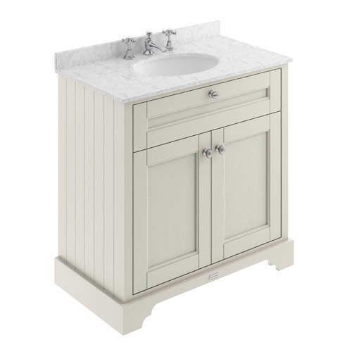 Old London Furniture Vanity Unit, Basin & Grey Marble 800mm (Sand, 3TH).