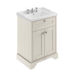 Old London Furniture Vanity Unit With Basins 600mm (Timeless Sand, 3TH).