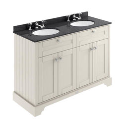 Old London Furniture Vanity Unit With 2 Basins & Black Marble Sand, 3TH).