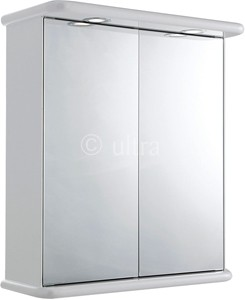 Ultra Cabinets Niche 2 Door Mirror Cabinet, Lights & Shaver. 620x705x200mm.