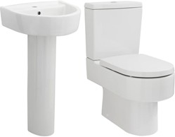 Premier Ceramics Toilet With Luxury Seat, 420mm Basin & Pedestal.