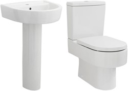 Premier Ceramics Toilet With Luxury Seat, 520mm Basin & Pedestal.