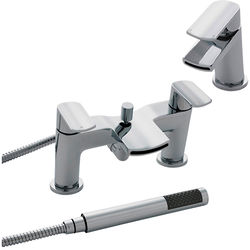 Nuie Mona Waterfall Basin & Bath Shower Mixer Tap Pack (Chrome).