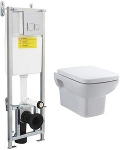 Premier Ambrose Wall Hung Toilet Pan, Frame & Luxury Seat.