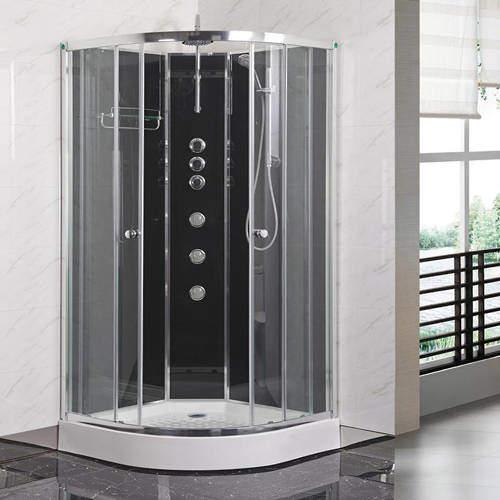 Premier Enclosures Offset Quadrant Cabin 1200x800mm (LH, Black).