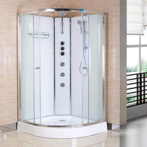 Premier Enclosures Offset Quadrant Cabin 1200x800mm (LH, White).