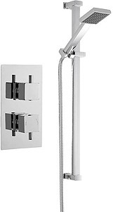 Premier Showers Twin Thermostatic Shower Valve & Slide Rail Kit (Chrome).