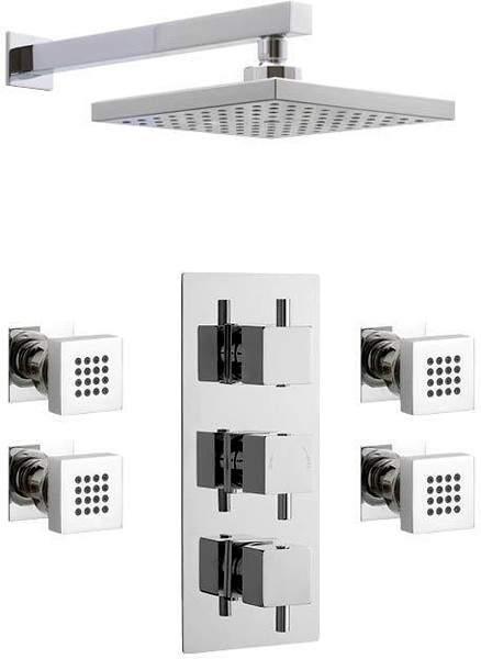 Premier Showers Triple Thermostatic Shower Valve & Square Head & Body Jets.