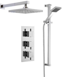 Premier Showers Triple Thermostatic Shower Valve, Square Head & Slide Rail Kit.