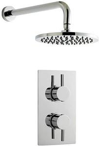 Premier Showers Twin Thermostatic Shower Valve & Round Head (Chrome).