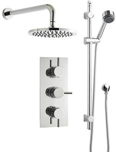 Premier Showers Triple Thermostatic Shower Valve, Round Head & Slide Rail Kit.