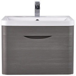 Premier Eclipse Wall Hung Vanity Unit & Basin 600mm (Grey Woodgrain).